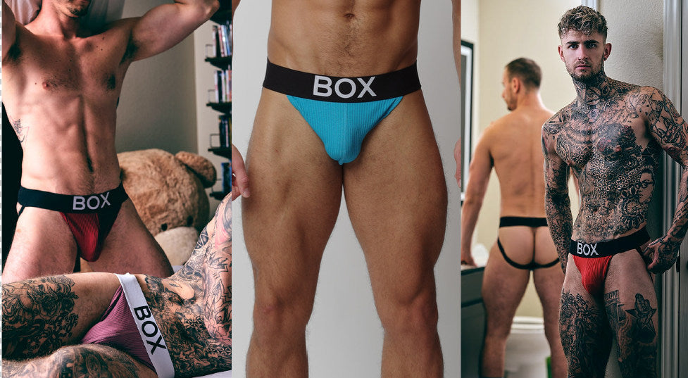 Three ribbed jockstraps with black waistbands