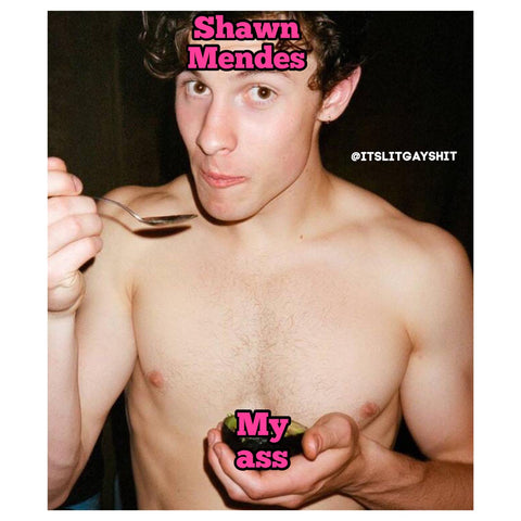 Shawn Mendes topless eating using a teaspoon with comedy pink writing