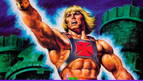 He-Man poses sword up Castle Grayskull