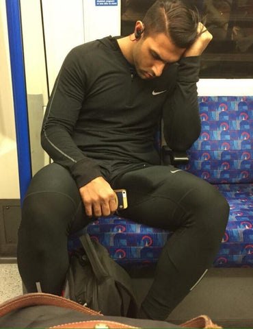 Man in black gym clothes obvious erection