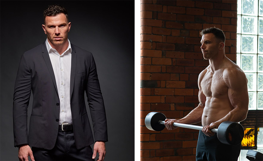 Keegan Hirst Working Out and In A suit
