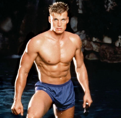 Dolph Lundgren 80s muscled bulging blue shorts