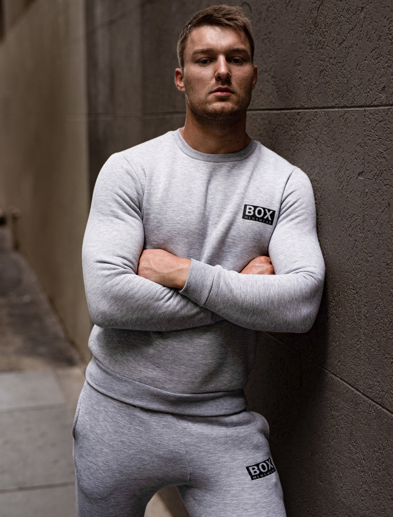 Mens Crew Neck Jumper - Melange Grey