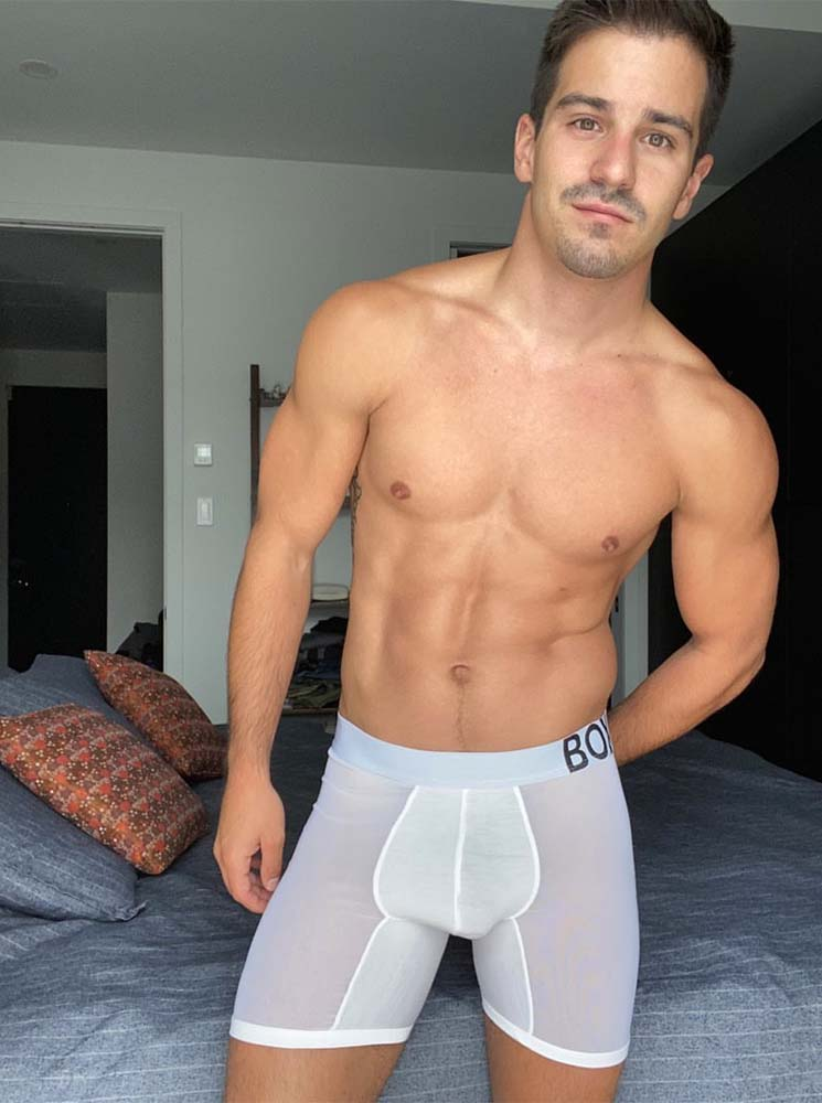 box menswear see through panel white boxers transparent bedroom