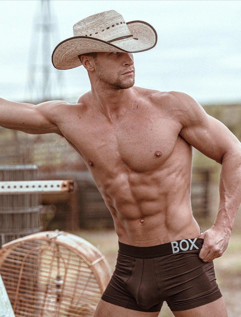 Kyle Hynick Black King Fit Boxers Hand In Waistline Cowboy Hat