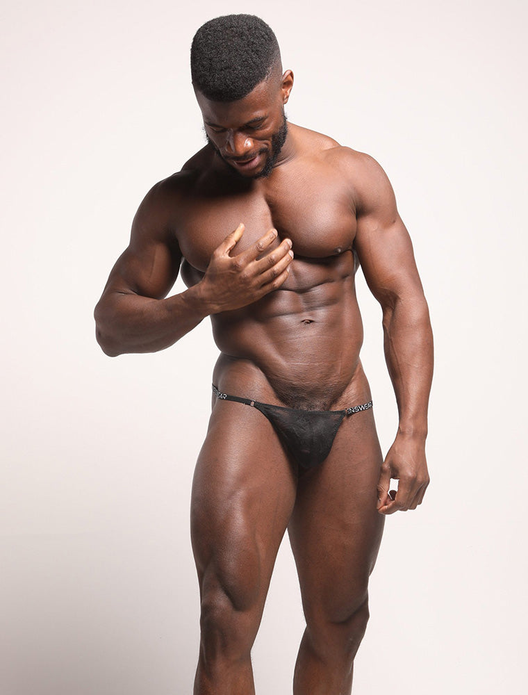 Daniel Shoneye See Through Black Lace Thong Bulge Front View