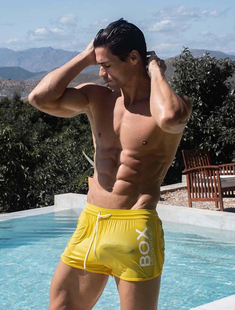 box yellow swim trunks