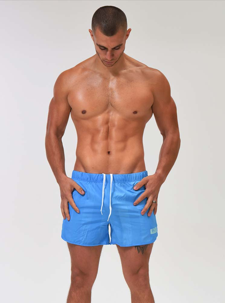 Retro Thigh Cut Shorts - Azure Blue