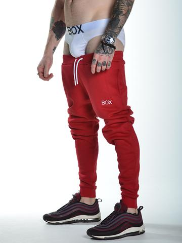 Slit Fit Fleece Joggers Red Super Soft Bulge White Brief