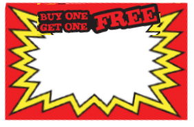 Pricing Cards - Buy One Free Red (100 Pk)