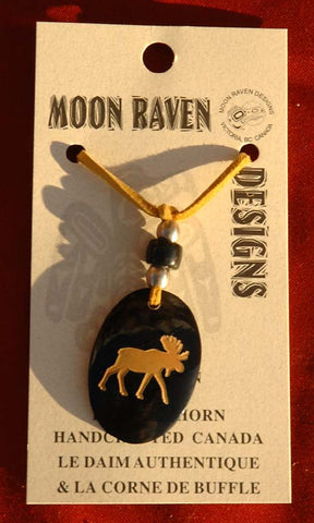 Genuine Deerskin Necklace with a Buffalo Horn Moose Pendant