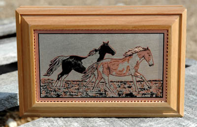 2 Horses Running Wooden Box