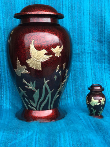 """Red, Three Birds"" Urn"