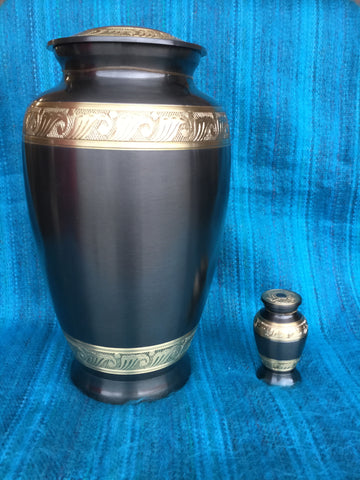 """Charcoal with Gold Trim"" Urn"