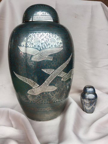 """Silver with Blue Etching"" Urn"