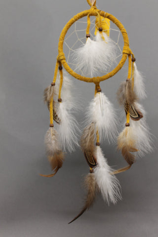 "4.5"" Indian Tan Suede Dream Catcher with Feathers"