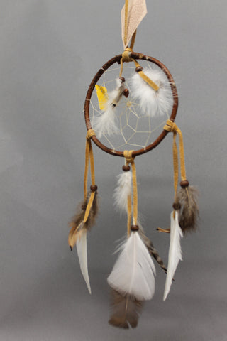 "4.5"" Wooden Dreamcatcher with Feathers"