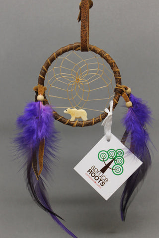 "3"" Brown Leather with Bone Bear & Purple Feathers"