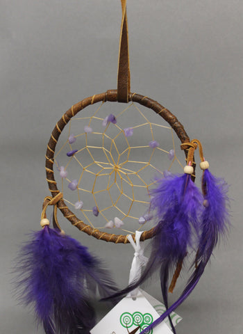 "4"" Brown leather with Purple Stones and Feathers"