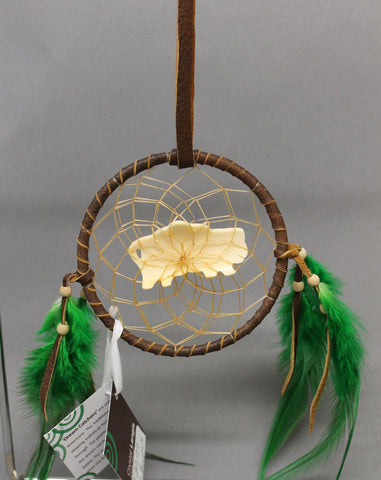 "4"" Brown Leather with Bone Buffalo & Green Feathers"
