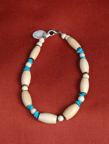 Bone and Turquoise Bracelet
