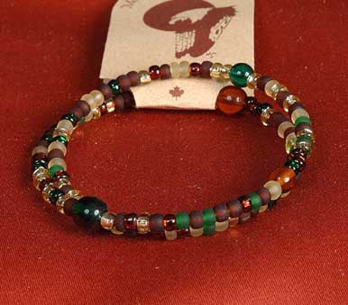 Glass Bead Coiled Adjustable Bracelet