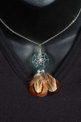 Stainless Steel and Feather Dreamcatcher Necklace