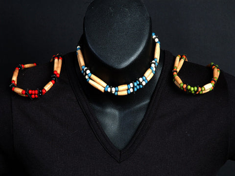 Bone, Wood Bead and Leather 2 Strand Adjustable Choker