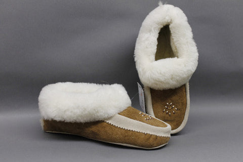 Mustang Cream Sheepskin, Beaded with Padded Sole