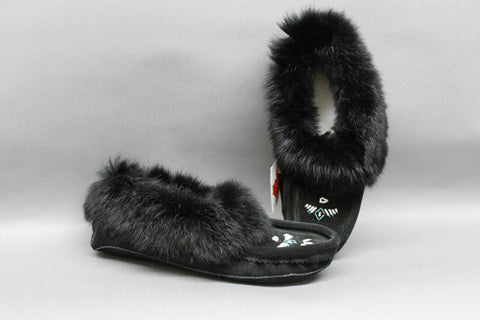 Black Suede with Rabbit Fur Trim