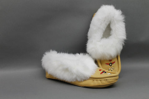Moose Hide, Beaded with Rabbit Fur Trim