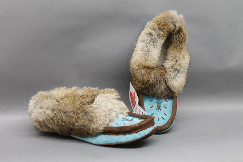 Turquoise & Brown Suede Lined with Rabbit Fur Trim