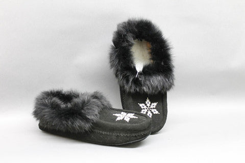 Black Suede Lined, Beaded, Rabbit Fur Trim and Padded Sole