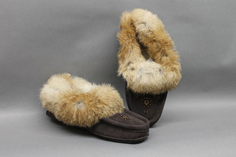 Chocolate Suede, Fur Trim with Leather Sole