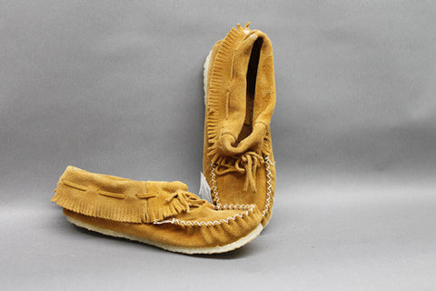 Indian Tan Suede with Fringe and Gum Sole