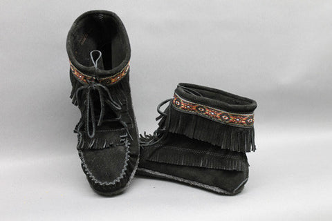 Black Suede, Beaded and Braided with Gum Sole