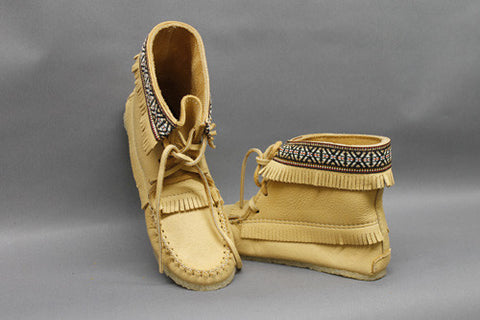 Moosehide Apache Boot, Braided and Fringed with Gum Sole