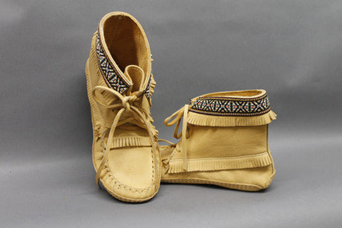Ankle Length Moose Hide Moc Braided Edging C37597