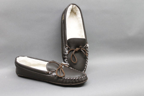 Brown Leather, Sheep Lined with Padded Leather Sole