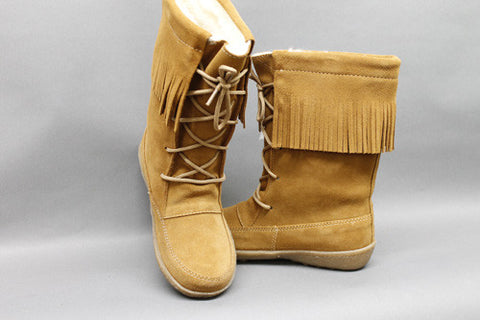 Suede, Fringed with Fleece Lining and Rubber Sole