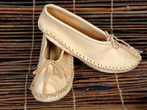 Deer Hide Cream Ballet Slippers MZ150