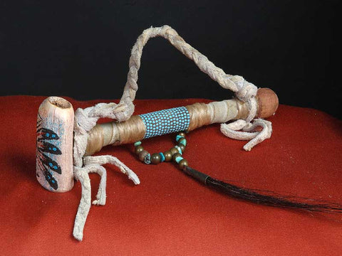 Painted Caribou Horn With Beads and Leather