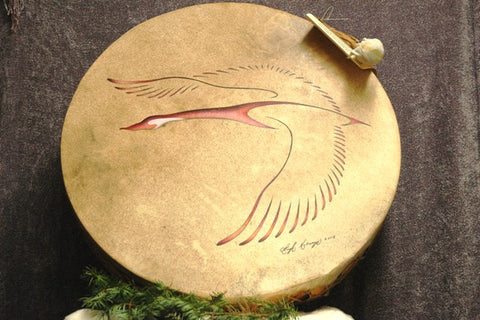 "22.5 ""Iroquois Raw Hide  Drum - Flying Goose"