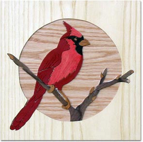 """Red Cardinal"" Wood Marquetry Kit"