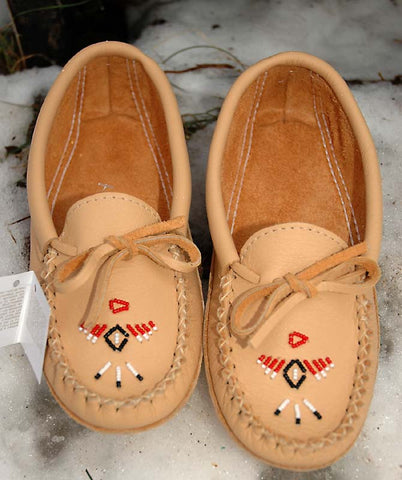 Beaded Moose Hide Double Padded Sole C7463