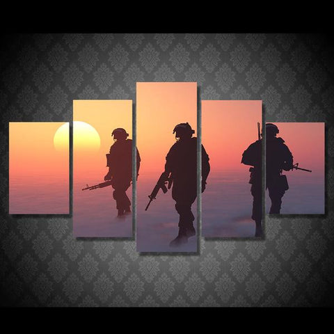 Fearless Soldiers 5 Piece Canvas