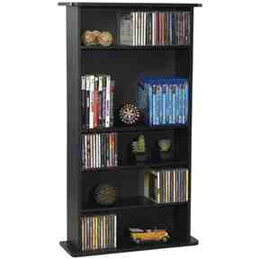 Black Media Storage Cabinet Bookcase with Adjustable Shelves -   - Magneta Brand
