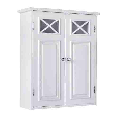Bathroom Wall Cabinet in White with Crisscross Pattern Window -   - Magneta Brand