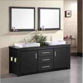 "72"" Double Sink Vanity Set in Espresso with Porcelain Vessel Sinks -   - Magneta Brand"