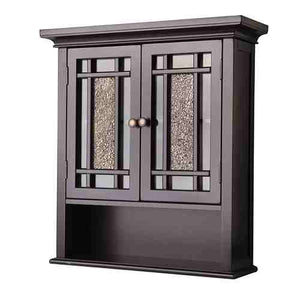 Espresso Bathroom Wall Cabinet with Amber Mosaic Glass Accents -   - Magneta Brand